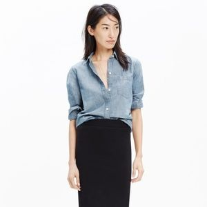 Madewell Chambray Ex Boyfriend Button Down Shirt